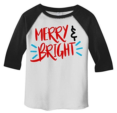 Shirts By Sarah Toddler Merry Bright Christmas 3/4 Raglan T-Shirt Cute Boy's Girls T-Shirt-Shirts By Sarah