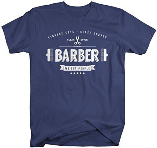 Shirts By Sarah Men's Funny Vintage Barber T-Shirt We Cut People-Shirts By Sarah