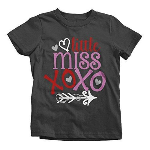 Shirts By Sarah Girl's Little Miss XOXO Funny Valentine Day T-Shirt-Shirts By Sarah