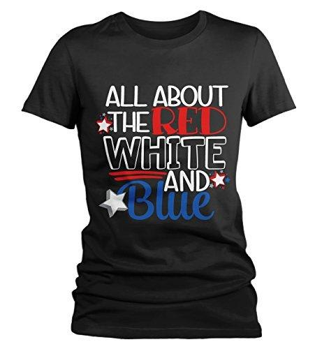 Shirts By Sarah Women's 4th July All About Red White Blue T-Shirt Shirt-Shirts By Sarah