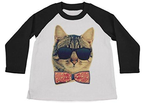 Shirts By Sarah Boy's Funny Hipster Cat Shirt 3/4 Sleeve Raglan Kitty Shirts Bow Tie - Black/White / Large - 2