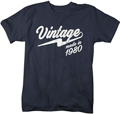 Shirts By Sarah Men's Vintage Made In 1980 T-Shirt Retro Birthday Shirts-Shirts By Sarah