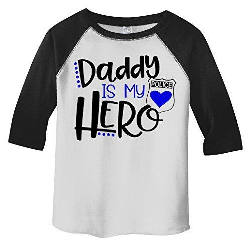 Shirts By Sarah Toddler Daddy Is Hero Police Officer Cop 3/4 Sleeve Raglan T-Shirt-Shirts By Sarah