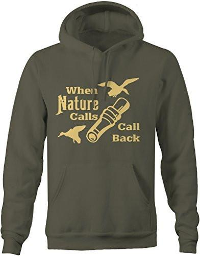Shirts By Sarah Men's Funny Hunting Pullover When Nature Calls Call Back Hunter Hoodie-Shirts By Sarah