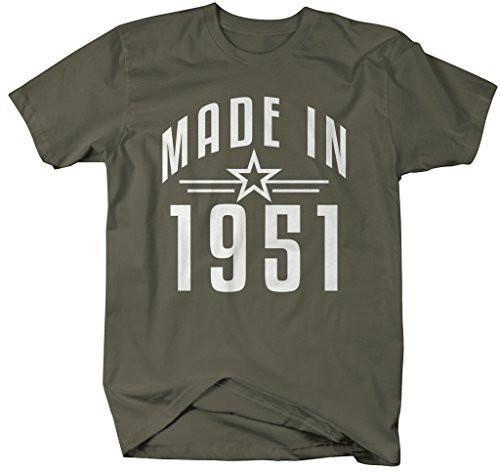Shirts By Sarah Men's Made In 1951 Birthday T-Shirt Retro Star Custom Shirts-Shirts By Sarah