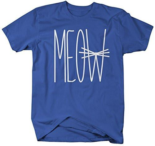 Shirts By Sarah Men's Funny Hipster T-Shirt Meow Shirts Cat Face Whiskers-Shirts By Sarah