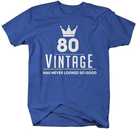 Shirts By Sarah Mens Funny 80th Birthday T Shirt Vintage Never Looked So Good