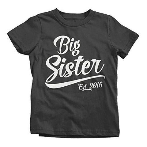 Shirts By Sarah Girl's Big Sister 2016 T-Shirt Sibling Matching Shirts-Shirts By Sarah