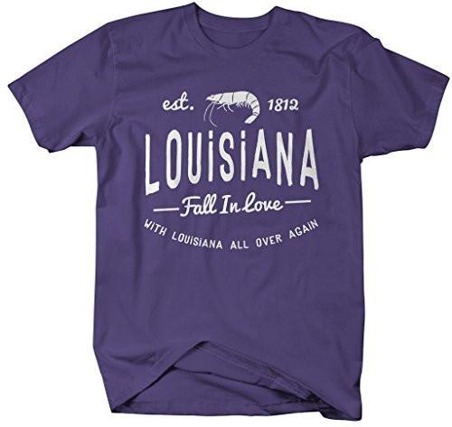Shirts By Sarah Men's Louisiana State Slogan Shirt Fall In Love T-Shirt Est. 1812-Shirts By Sarah