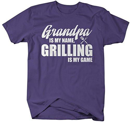 Shirts By Sarah Men's Funny Grandpa Is Name Grilling Game Shirt Gift Father's Day-Shirts By Sarah