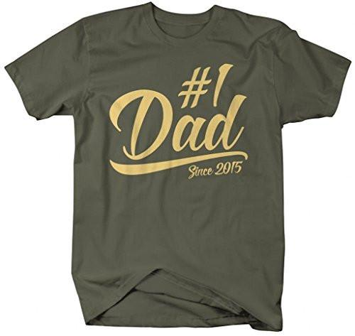 Shirts By Sarah Men's #1 Dad T-Shirt Since 2015 Modern Father's Day Shirts-Shirts By Sarah