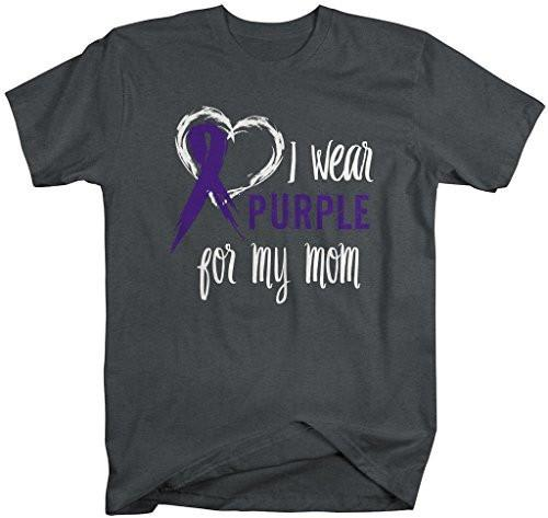 Shirts By Sarah Men's Purple Ribbon Shirt Wear For Mom T-Shirt Awareness Support Shirt-Shirts By Sarah