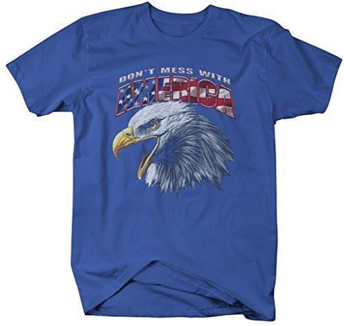Shirts By Sarah Men's Patriotic Don't Mess With America T-Shirt Eagle 4th July Shirt-Shirts By Sarah