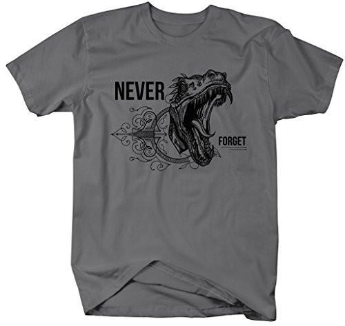 Shirts By Sarah Men's Hipster Never Forget Dinosaur T-Shirt-Shirts By Sarah