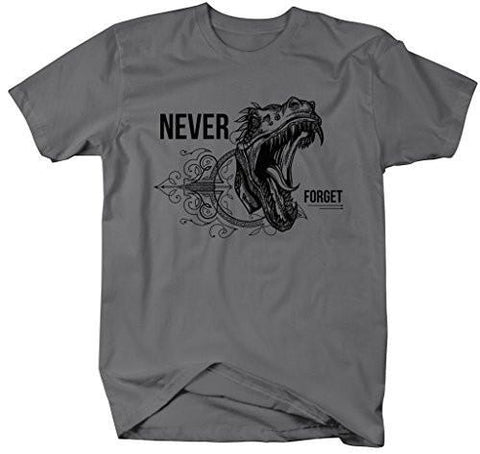 Shirts By Sarah Men's Hipster Never Forget Dinosaur T-Shirt - Charcoal / XX-Large - 2