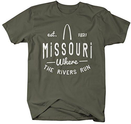Shirts By Sarah Men's Missouri State Slogan Shirt Where The Rivers Run T-shirt Est. 1821-Shirts By Sarah