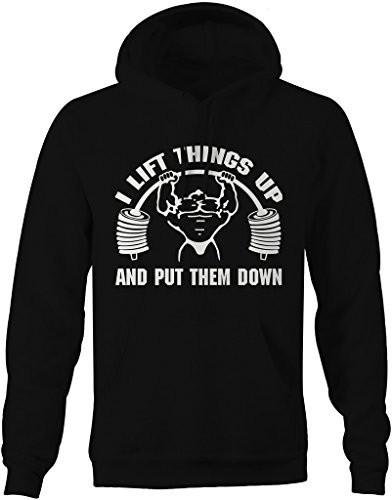 Shirts By Sarah Men's Funny Lift Things Up Weight Lifting Hoodie-Shirts By Sarah