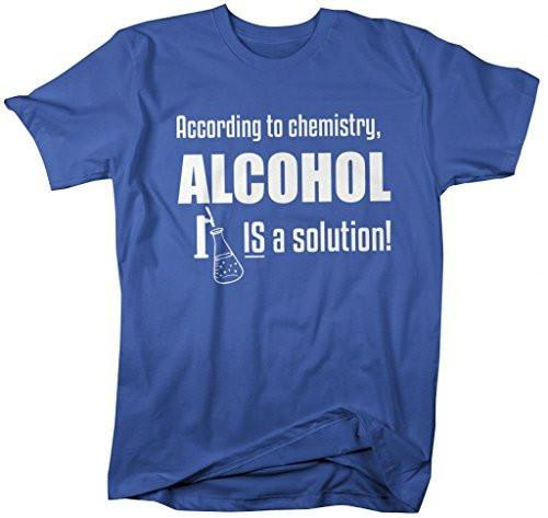 Shirts By Sarah Men's Funny Chemistry Alcohol T-Shirt Solution Chemist Tee-Shirts By Sarah