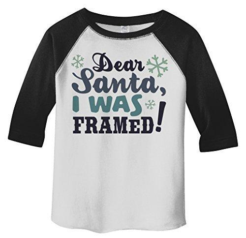 Shirts By Sarah Toddler Dear Santa Was Framed Funny Christmas Raglan T-Shirt-Shirts By Sarah