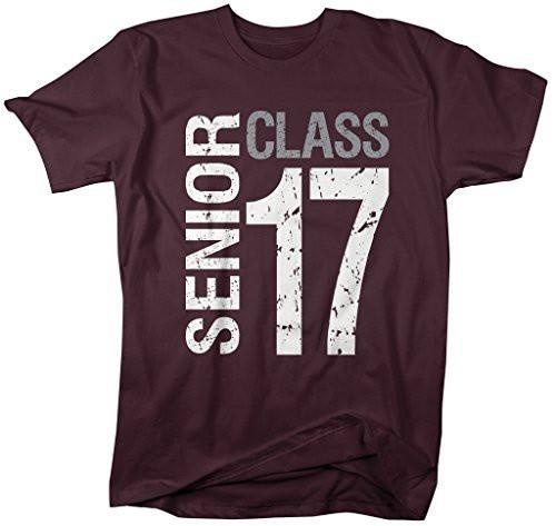 Shirts By Sarah Men's Senior Class T-Shirt Seniors 2017 Distressed Ring Spun Cotton Tee-Shirts By Sarah