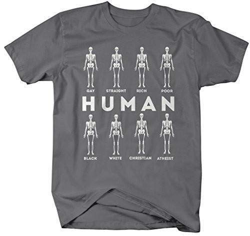 Shirts By Sarah Men's Only Human Equality T-Shirt Inspirational Skeleton Shirt-Shirts By Sarah