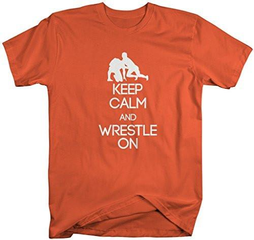 Shirts By Sarah Men's Keep Calm Wrestle On T-Shirt Wrestling Shirts-Shirts By Sarah