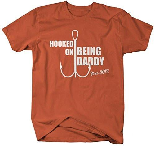 Shirts By Sarah Men's Hooked On Being Daddy Since 2012 T-Shirt-Shirts By Sarah