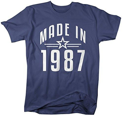 Shirts By Sarah Men's Made In 1987 Birthday T-Shirt Retro Star Custom Shirts-Shirts By Sarah