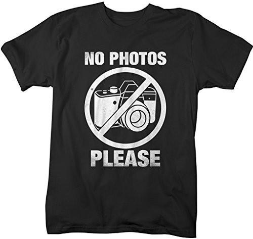 Shirts By Sarah Men's Funny T-Shirt No Photos Please Camera Photographer Shirts-Shirts By Sarah