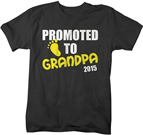 Shirts By Sarah Men's Promoted To Grandpa 2015 T-Shirt New Baby Reveal Shirts-Shirts By Sarah
