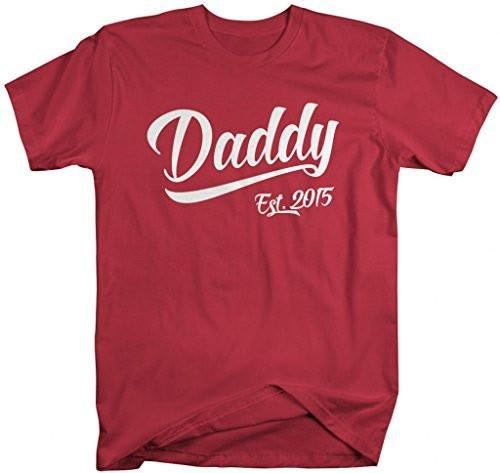 Shirts By Sarah Men's Daddy Est. 2015 T-Shirt Fathers Day Shirts-Shirts By Sarah