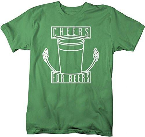 Shirts By Sarah Men's Party T-Shirt Cheers For Beers Hipster Shirts-Shirts By Sarah