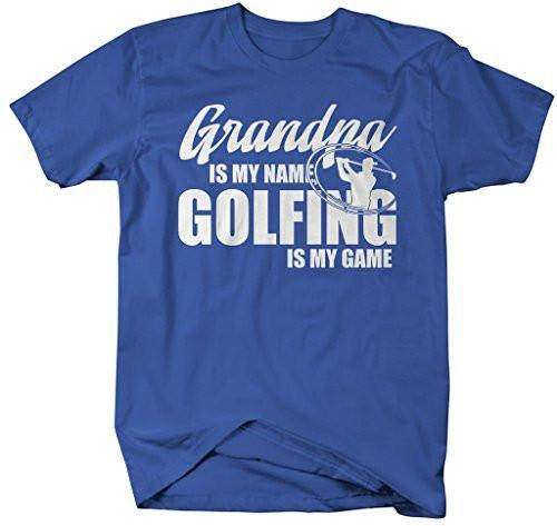 Shirts By Sarah Men's Funny Golfing T-Shirt Grandpa Is My Name Golfing Is My Game Shirt-Shirts By Sarah
