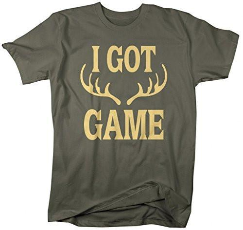 Shirts By Sarah Men's Funny Hunting T-Shirt - I Got Game Antlers-Shirts By Sarah