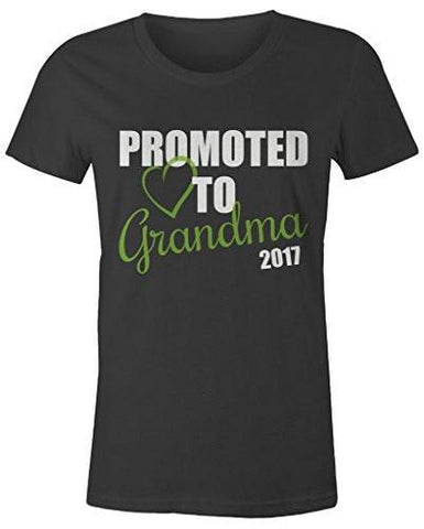 Shirts By Sarah Women's Promoted To Grandma 2017 T-Shirt New Grandparents Baby Reveal-Shirts By Sarah