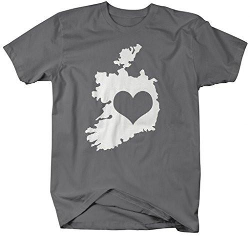 Shirts By Sarah Men's Love Ireland Outline Heart Pride St. Patrick's Day T-Shirt-Shirts By Sarah