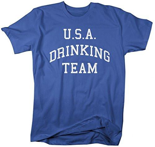 Shirts By Sarah Men's U.S.A. Drinking Team T-Shirt 4th July Shirts-Shirts By Sarah