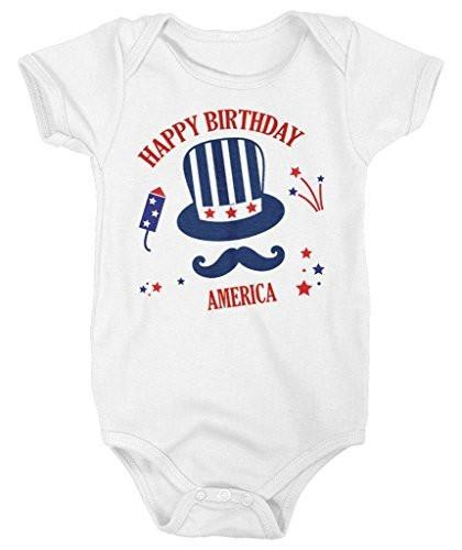 Shirts By Sarah Baby Happy Birthday America 4th July Creeper One Piece Bodysuit-Shirts By Sarah