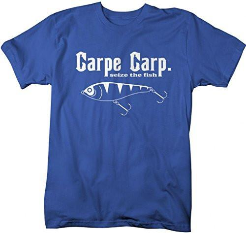 Shirts By Sarah Men's Funny Fishing T-Shirt Carpe Carp seize The Fish-Shirts By Sarah