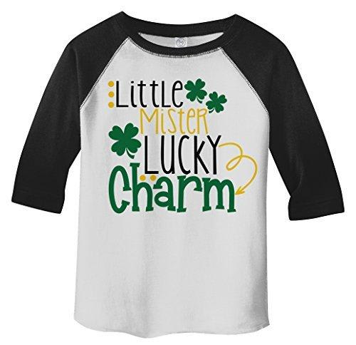 Shirts By Sarah Boy's Toddler Little Mister Lucky Charm T-Shirt ST. Patrick's Day 3/4 Sleeve Raglan-Shirts By Sarah