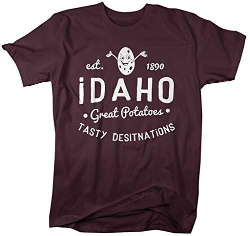 Shirts By Sarah Men's Idaho State Slogan Shirt Great Potatoes T-Shirt Est. 1890-Shirts By Sarah