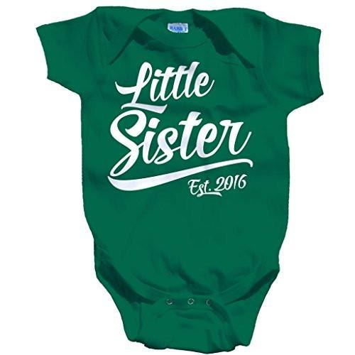 Shirts By Sarah Baby Girl's Little Sister Est. 2016 One Piece Bodysuit-Shirts By Sarah