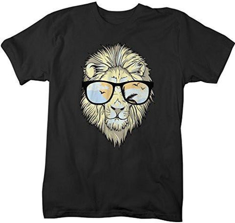 Shirts By Sarah Men's Hipster Lion Sunglasses T-Shirt Summer Big Cat Shirts-Shirts By Sarah