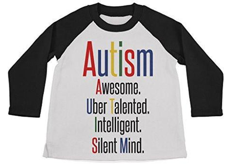 Shirts By Sarah Boy's Autism Shirt 3/4 Sleeve Raglan Shirts Support Awareness - Black/White / Large - 2