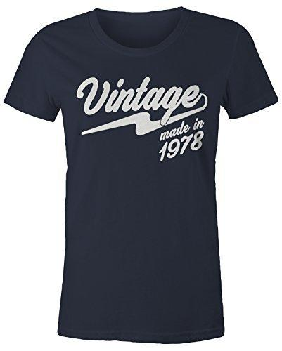 Shirts By Sarah Women's Vintage Made In 1978 T-Shirt Retro 40th Birthday Shirt-Shirts By Sarah