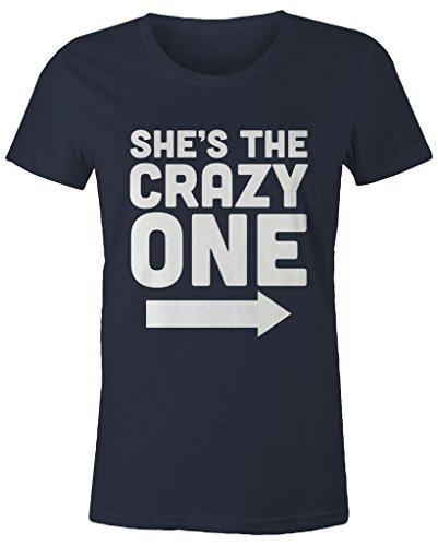 Shirts By Sarah Women's She's Crazy One Best Friend Mix Match Couples T-Shirt (Left)-Shirts By Sarah
