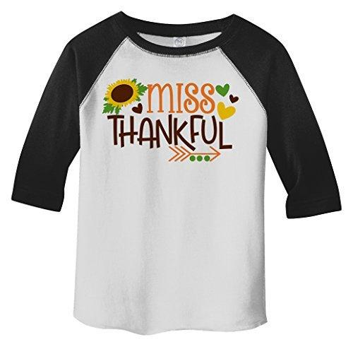 Shirts By Sarah Little Girl's Little Miss Thankful Thanksgiving Toddler Raglan-Shirts By Sarah