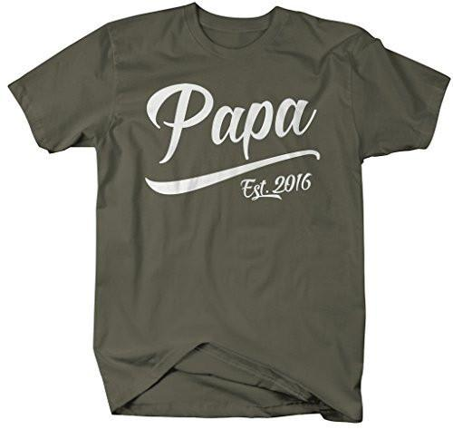 Shirts By Sarah Men's Papa Est. 2016 T-Shirt Fathers Day Shirts-Shirts By Sarah