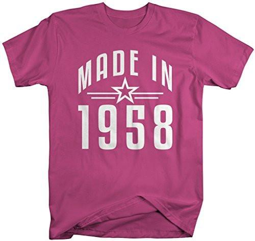 Shirts By Sarah Men's Made In 1958 Birthday T-Shirt Retro Star Custom Shirts-Shirts By Sarah