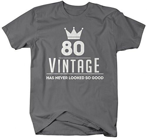 Shirts By Sarah Mens Funny 80th Birthday T Shirt Vintage Never Looked
